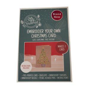 Embroidered Christmas Tree Card Kit