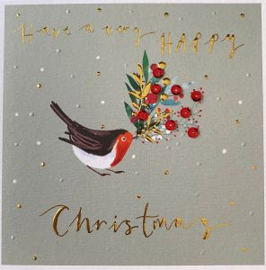 Premium 8pk Hand Finished Christmas Robins Christmas Cards