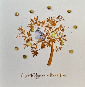 Premium 8pk Hand Finished Partridge in a Pear Tree Christmas Cards