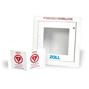 Image of Semi Recessed Wall Cabinet designed to hold AED Plus