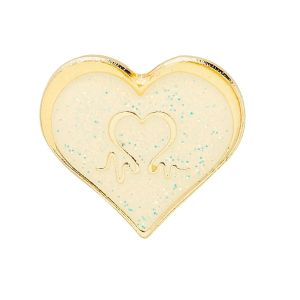 Image for Gold Finish Glitter Heart Pin Badge