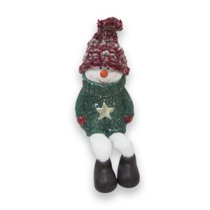 Green Ceramic Dangly Leg Snowman