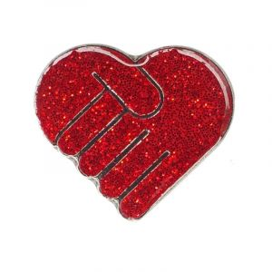 Image of red glitter holding hands pin badge