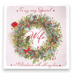 Special Wife Wreath Christmas Card