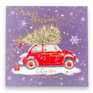 Husband Christmas Car Christmas Card