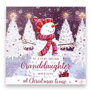 Granddaughter Snowman Christmas Card
