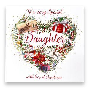 Fabulous Daughter Floral Christmas Card
