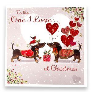 One I Love Dachshunds Christmas Card
