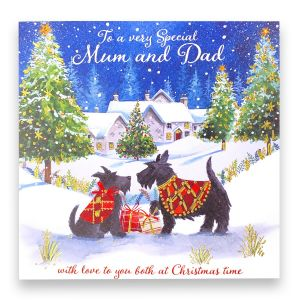 Mum and Dad Scottie Dogs Christmas Card