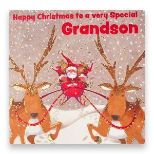 Amazing Grandson Santa and Sleigh Christmas Card
