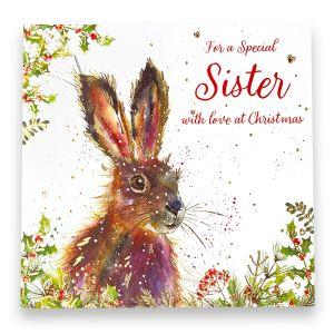 Wonderful Sister Hare Christmas Card