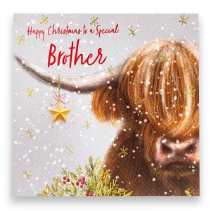 Lovely Brother Highland Cow Christmas Card