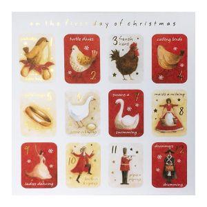 Red Twelve Days of Christmas Christmas Cards, 10pk