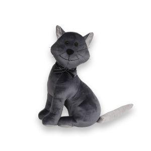 Cat Grey Velour Doorstop