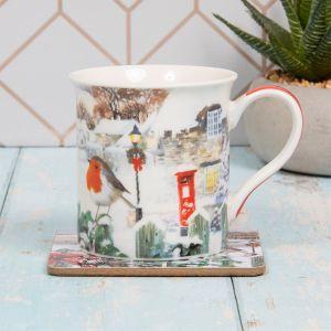 Robin Scene Mug & Coaster Gift Set