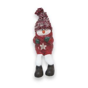 Red Ceramic Dangly Leg Snowman