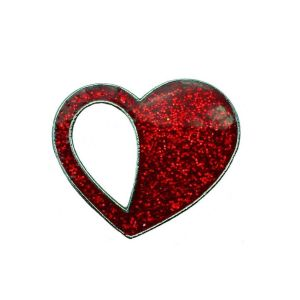 Image for Red Heart Teardrop Glitter Pin Badge