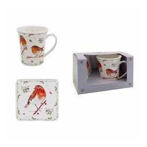 Winter Robin Mug & Coaster Set