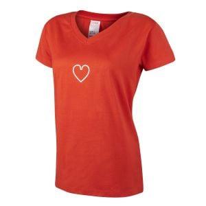 Women's Red Mini Heart Icon T-Shirt