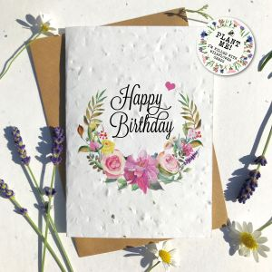 Happy Birthday Floral Eco Seed Card