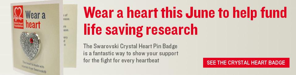 Crystal Heart Pin Badge